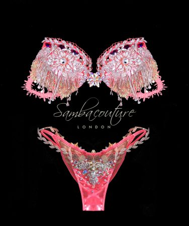 WBFF Competition Luxury coral gold bikini posing suit by SambaCouture