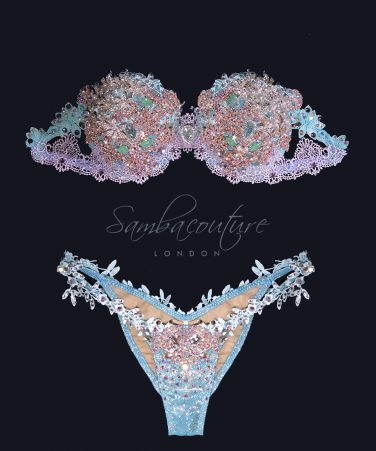 WBFF Competition Luxury Mint Blush Rose Gold bikini posing suit by SambaCouture