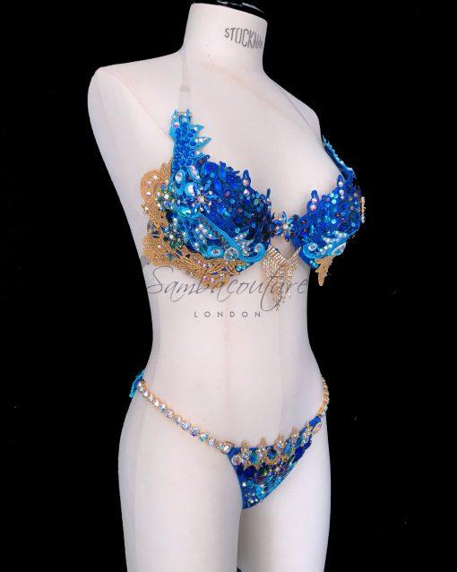 WBFF Competition Luxury Byzantine Royal Turquoise Gold bikini posing suit by SambaCouture