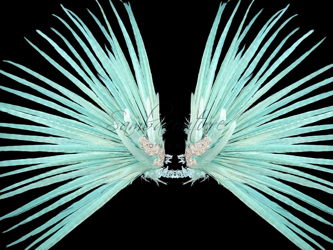 WBFF Competition Festival Angel Themewear arm wings in mint green