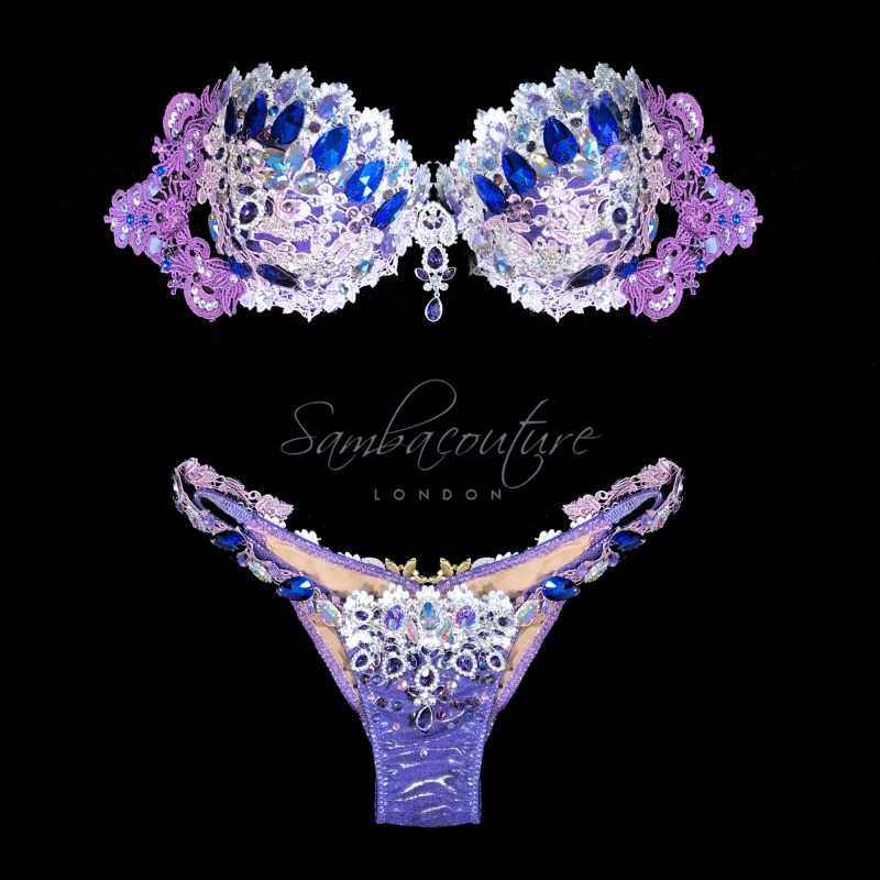 WBFF Competition Luxury Purple Silver bikini posing suit by SambaCouture