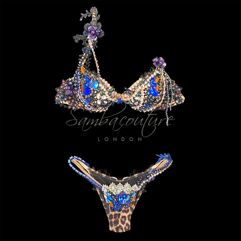 SambaCouture WBFF bikini posing suit. Animal leopard print AB crystal black lace purple blue crystal bikini