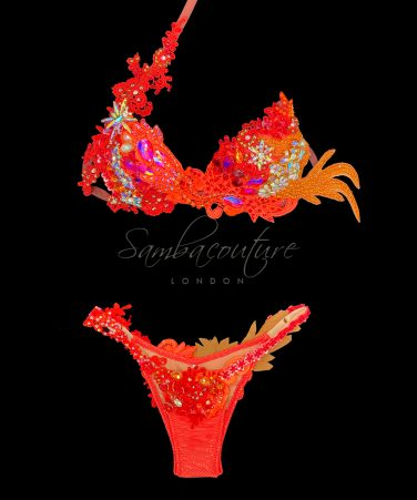 SambaCouture red orange WBFF posing suit