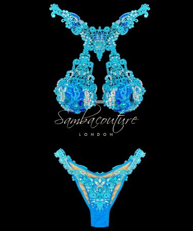 SambaCouture turquoise blue WBFF posing suit
